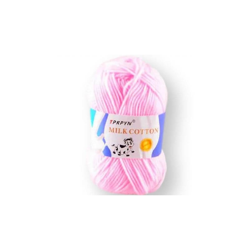 TPRPYN pehme lõng MILK COTTON, Baby-Soft, cotton-milk fiber - 50g, heleroosa