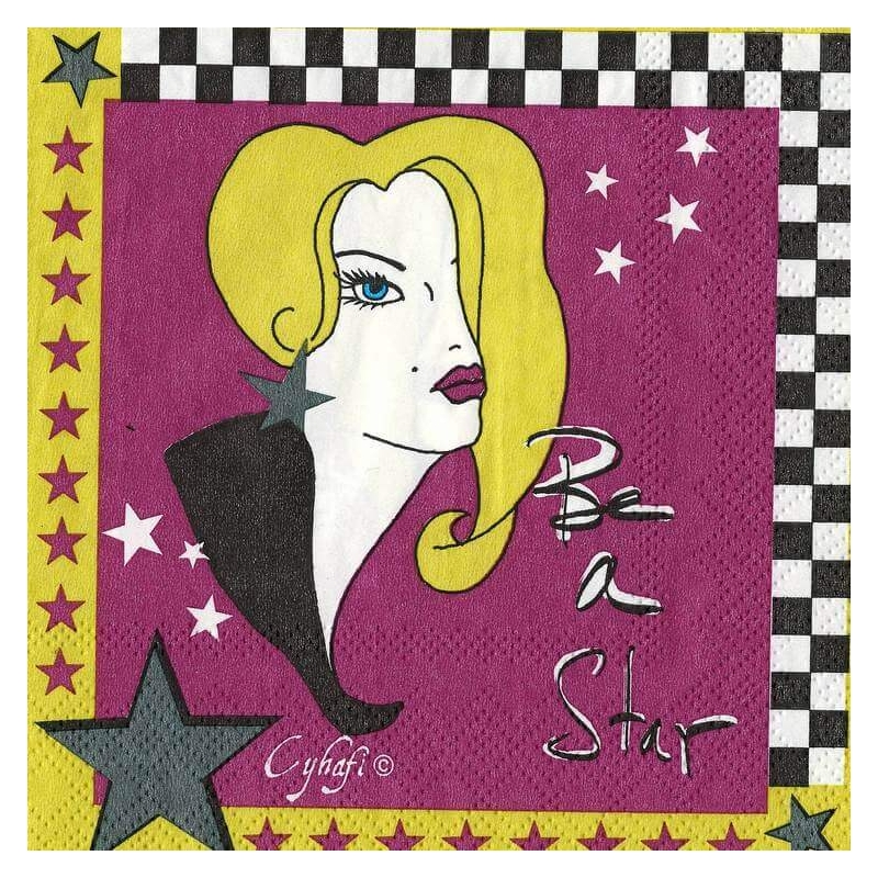 "Salvrätiku leht  ""Be a Star"" -  25 x 25 cm,  lilla-must"