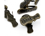 "Iluneedid metallist ""Thank You"",  pronks - 23 x 15 mm"